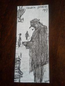Andriessen bij boekenstalletjes in Parijs